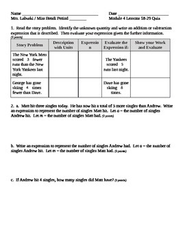 Grade 6 Common Core Math Module 4 Lessons 18-29 Quiz with Answer Key