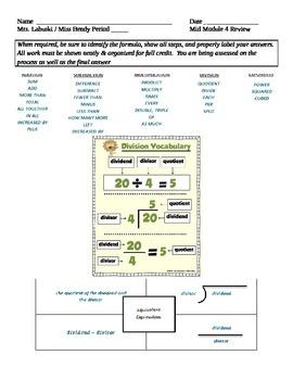 Grade 6 Common Core Math Module 4 Mid Module Review Lessons 1-17