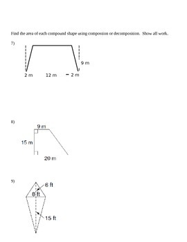 Grade 6 Common Core Math Module 5 Lessons 1-6 Quiz Review with Answer Key