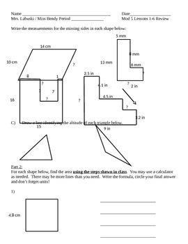 Grade 6 Common Core Math Module 5 Lessons 1-6 Quiz Review
