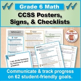 Grade 6 Common Core Math Standards Posters ~ CCSS Overview & Checklists