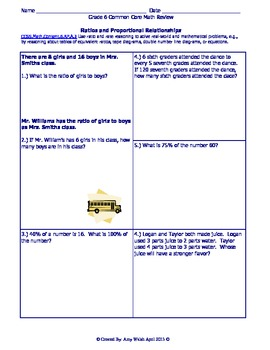 Grade 6 Common Core Math Test Prep By Standard - Practice Questions