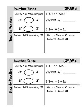 Grade 6 Common Core Pre-Class Tasks