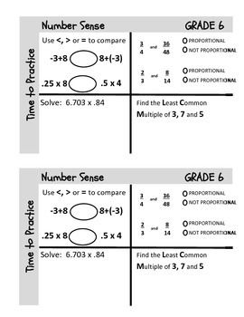 Grade 6 Common Core Pre-Class Tasks