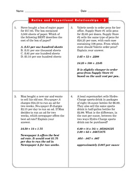 Grade 6 Common Core: Ratios and Proportions Math Worksheet 3.4