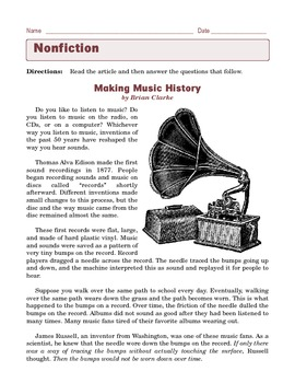 Grade 6 Common Core Reading: Informational Text -- Making Music History