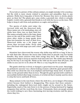 Grade 6 Common Core Reading: Informational Text -- Slow Motion Sloths