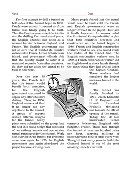 Grade 6 Common Core Reading: Informational Text -- The Channel Tunnel