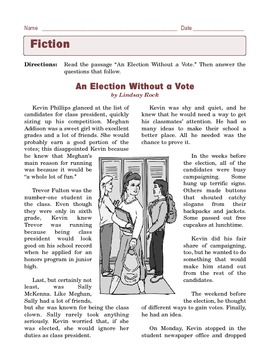 Grade 6 Common Core Reading: Literature - An Election Without a Vote
