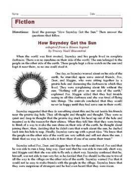 Grade 6 Common Core Reading: Literature - How Saynday Got the Sun