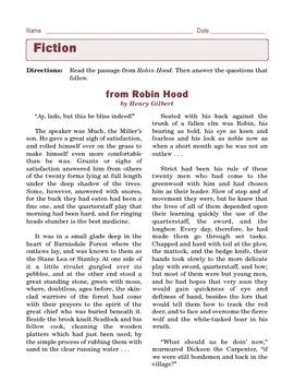 Grade 6 Common Core Reading: Literature -- Robin Hood