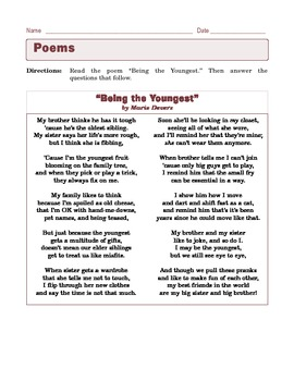 """Grade 6 Common Core Reading: Poetry - """"Being the Youngest"""""""