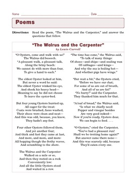 """Grade 6 Common Core Reading: Poetry - """"The Walrus and the Carpenter"""""""