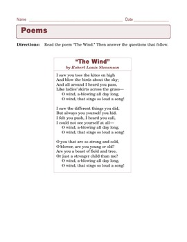 grade 6 common core reading poetry the wind by robert louis stevenson. Black Bedroom Furniture Sets. Home Design Ideas