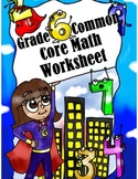 Grade 6 Common Core: Statistics and Probability Math Worksheet 1-2-3.1