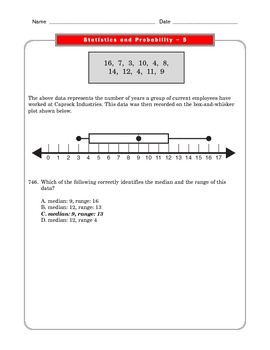 Grade 6 Common Core: Statistics and Probability Math Worksheet 5.5