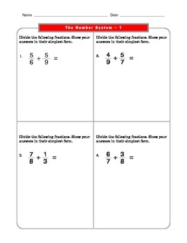 Grade 6 Common Core: The Number System Math Worksheet 1.1