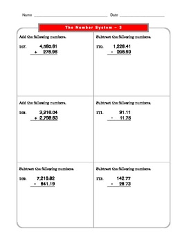 Grade 6 Common Core: The Number System Math Worksheet 3.1