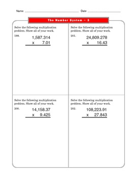 Grade 6 Common Core: The Number System Math Worksheet 3.4