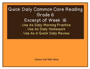 Grade 6 Daily Common Core Reading Practice Week 16 (Part 1/2)