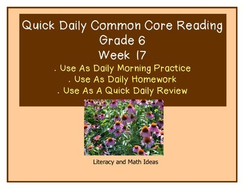 Grade 6 Daily Common Core Reading Practice Week 17 {LMI}