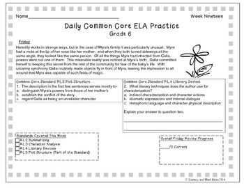 Grade 6 Daily Common Core Reading Practice Week 19 {LMI}