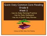 Grade 6 Daily Common Core Reading Practice Week 2 {LMI}