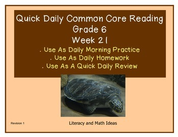 Grade 6 Daily Common Core Reading Practice Week 21