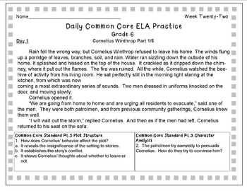 Grade 6 Daily Common Core Reading Practice Week 22