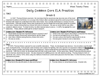 Grade 6 Daily Common Core Reading Practice Week 23