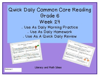 Grade 6 Daily Common Core Reading Practice Week 24