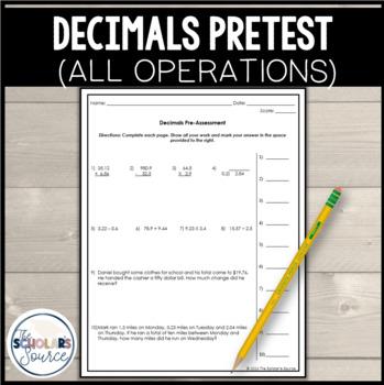Grade 6 Decimal Operations Pre-Test