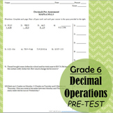 Decimals Operations 6th grade Pre-Test (all operations)