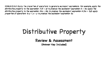 Grade 6: Distributive Property with Expressions Assessment
