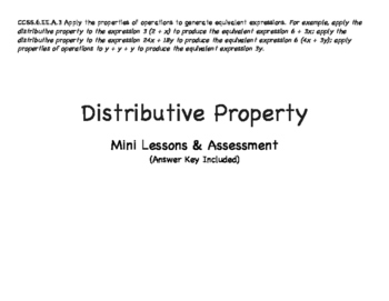 Grade 6: Distributive Property with Expressions Mini Unit