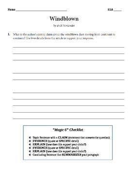 Grade 6 ELA 2014 NYS Released Questions Student Question and Answer Sheet