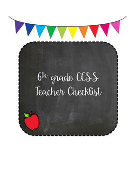 Grade 6 ELA CCSS Teacher Checklist