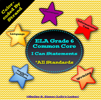 Grade 6 ELA Common Core I Can Statements