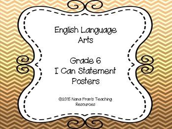 Grade 6 ELA I Can Statement Posters - Saskatchewan