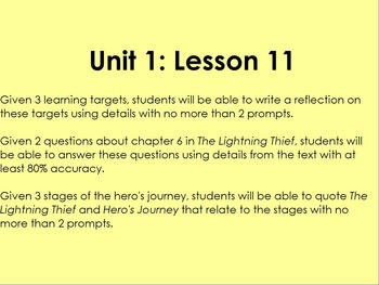 Lightning Thief- Grade 6 ELA Module 1 Unit 1 Lesson 11