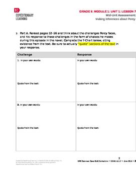 Grade 6 ELA Module 1 Unit 1 Mid-Unit Assessment with Vocabulary