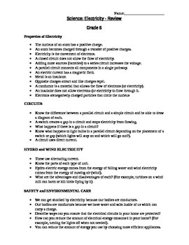 Grade 6 Electricity - Science Test & Review