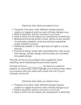 Grade 6 Electricity test