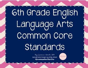 Grade 6 English Language Arts Common Core Posters {Chevron}