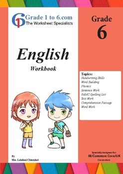 Grade 6 English Workbook/ Worksheets bundle from www.Grade1to6.com Books