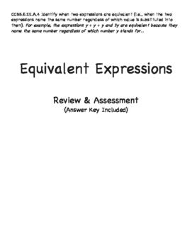 Grade 6: Equivalent Expressions Assessment