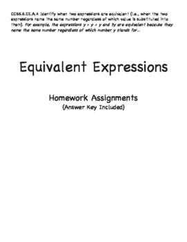 Grade 6: Equivalent Expressions Homework