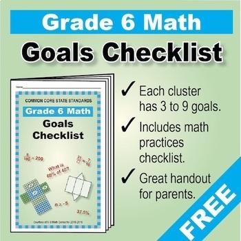 Grade 6 FREE Checklist of Math Goals for Common Core