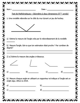FRENCH Math Tests Bundle - EDITABLE (Geometry, Measurement