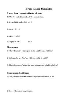 Grade 6 Final